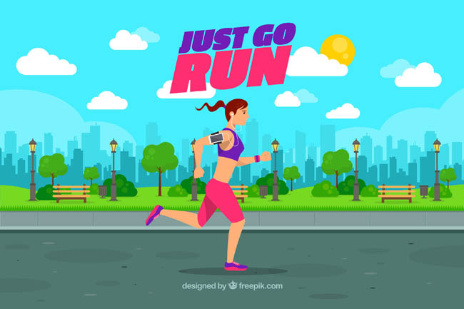 公园里面健身运动跑步的女子场景设计素材