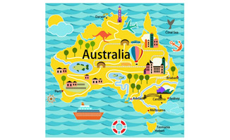 手绘澳洲地图矢量设计素