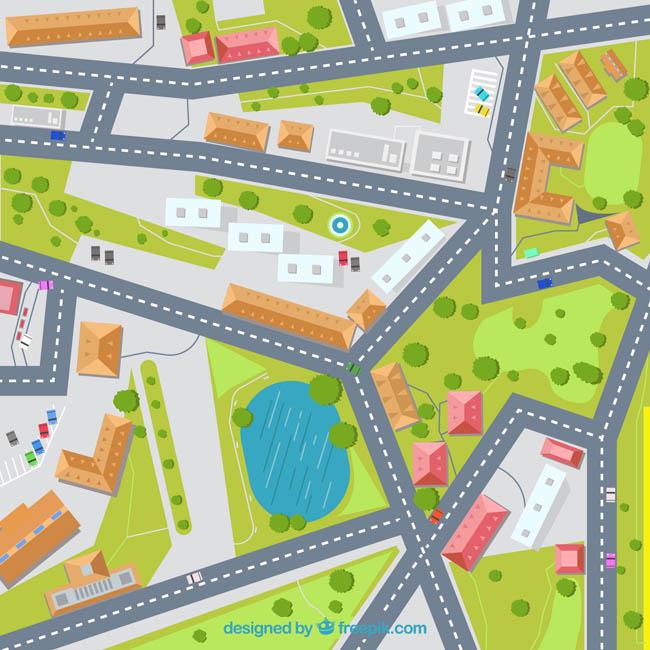 卫星地图立体街道位置矢量素材下载
