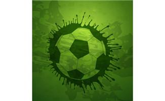 喷墨风格背景足球主题海