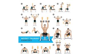 肌肉男在健身房各种运动