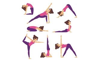 女生各种瑜伽动作设计矢