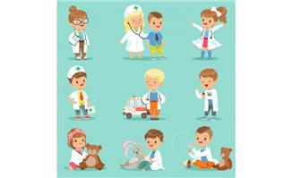 职业儿童动漫医生卡通形