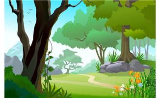 森林中山路绿树绿草场景设计flash动画素材