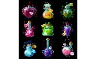 游戏UI图标设计药瓶各种款