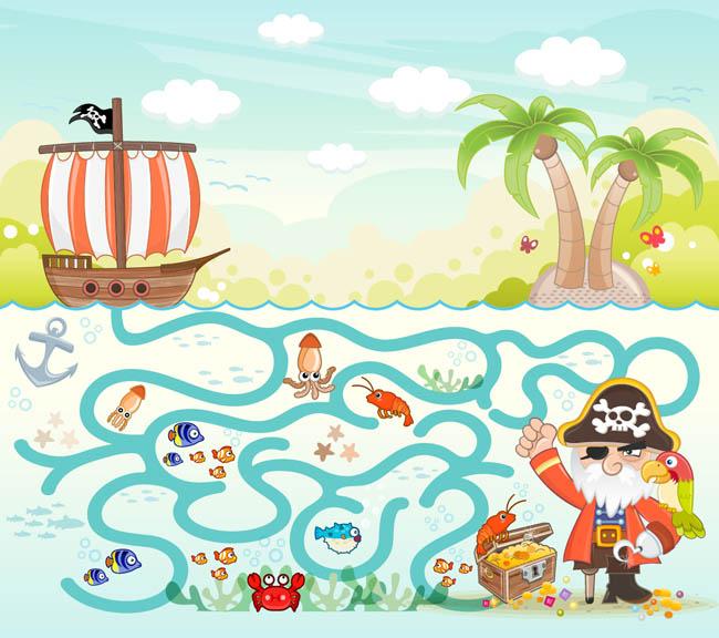 海盗主题游戏海洋迷宫场景设计矢量素材_flash二维mg.