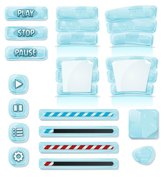 冰块手绘游戏按钮设计大全ui图标素材下载