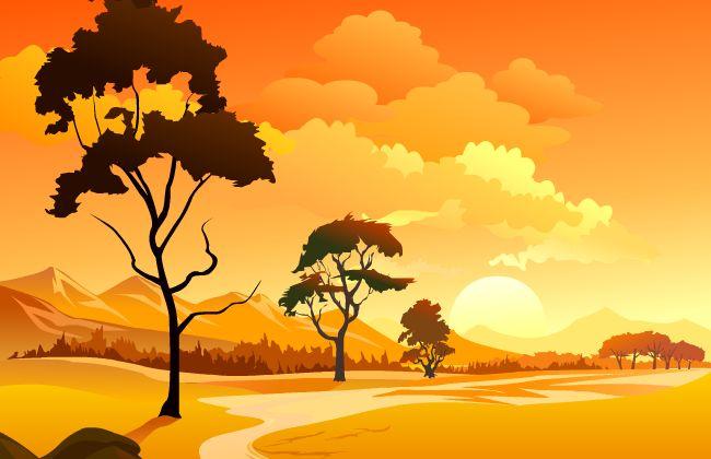夕阳  树木  山地 山川  自然风景 天空  flash动画短片场景设计