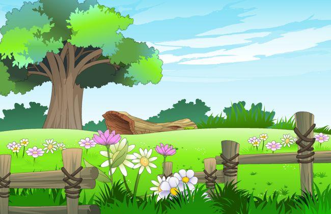草原景色树桩旁的野花flash动画背景设计