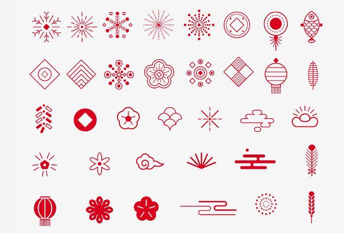 中国风新年新春各种简笔画风格红色元素设计素