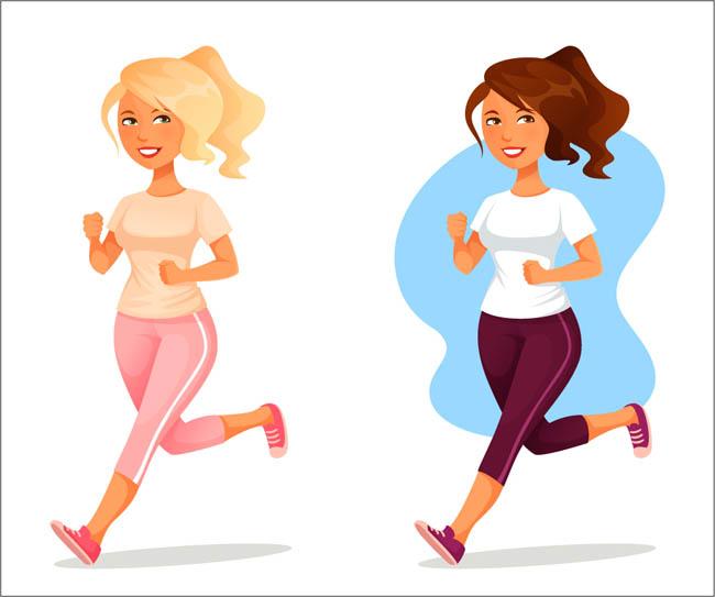 健身跑步的美女跑步姿势的女孩矢量素材图片
