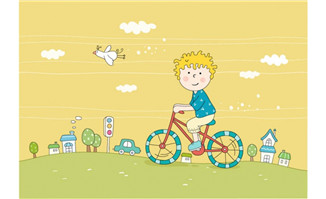 儿童骑自行车动漫形象线
