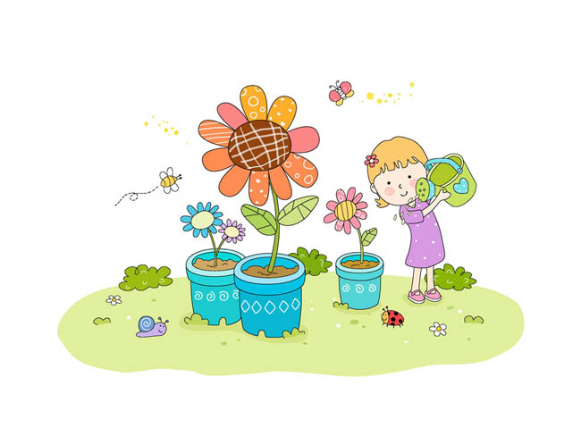 少年儿童在浇花的场景插画设计矢量素材_漫品购_mg_源