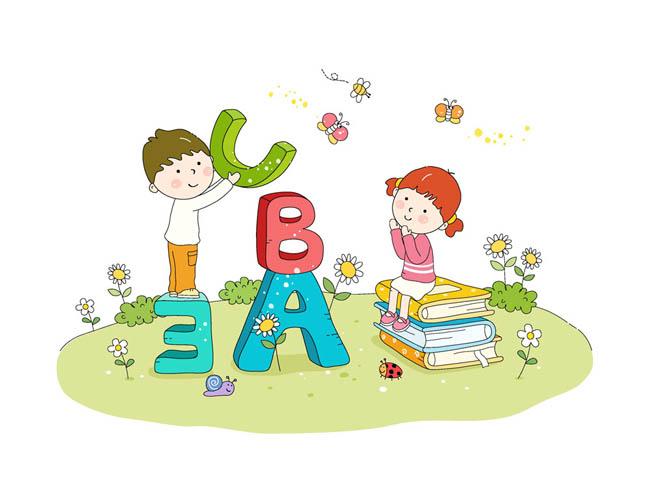 手绘英语字母少儿英语课插画漫画设计矢量素材