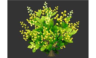 茂盛的金色花蕾果树矢量