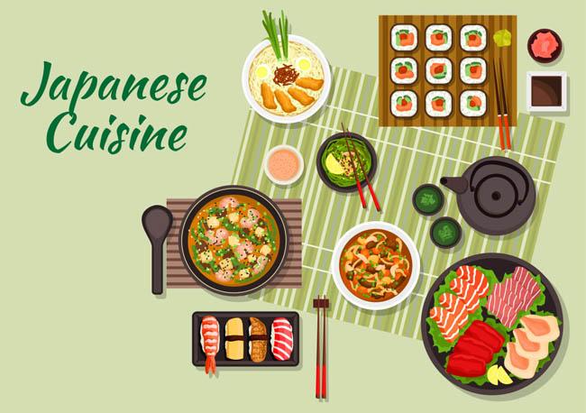 扁平俯视日本料理美食矢量素材下载
