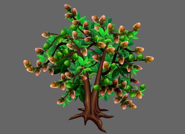 坚果食物坚果树造型设计flash动画素材图片