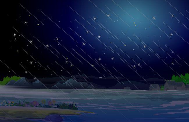 野外荒山场景flash动画素材  下雨  暴风雨  河流涨水  晚上的河水