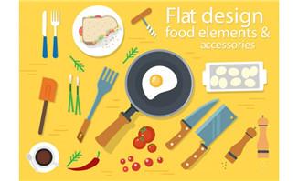 扁平制作食物的各种餐具