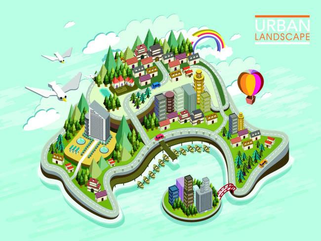旅游景区俯视手绘地图设计矢量素材
