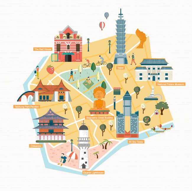 扁平创意旅游旅行地图指南设计矢量素材_flash二维mg.