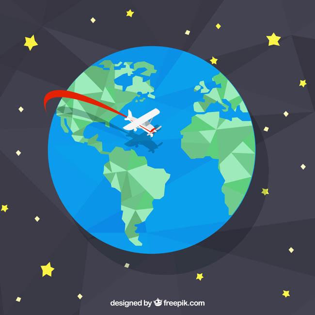 飞机划过地球的创意设计矢量素材_flash二维动画素材.