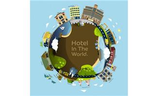 地球上酒店建筑旅游海报