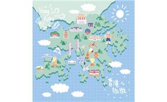 手绘香港旅游地图景点位