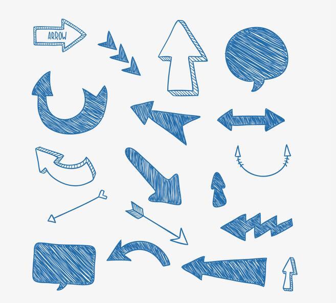 手绘素描线条风格箭头图标各种造型设计素材