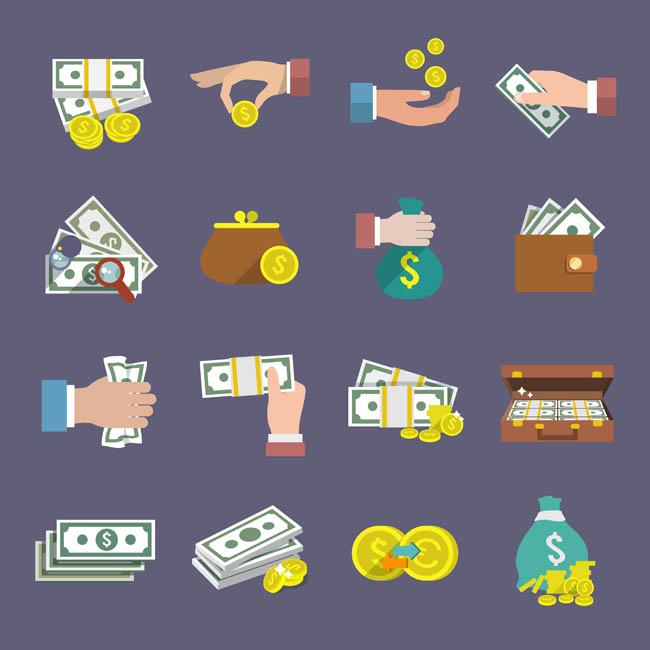 金币 钱袋  扁平化金融主题图标设计素材