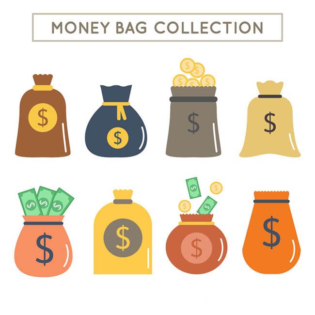 各款扁平金融钱袋设计钱袋图标矢量素材