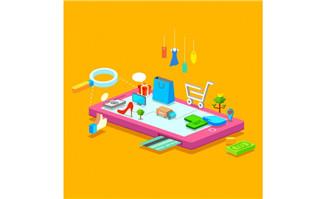 创意立体模型手机上商场