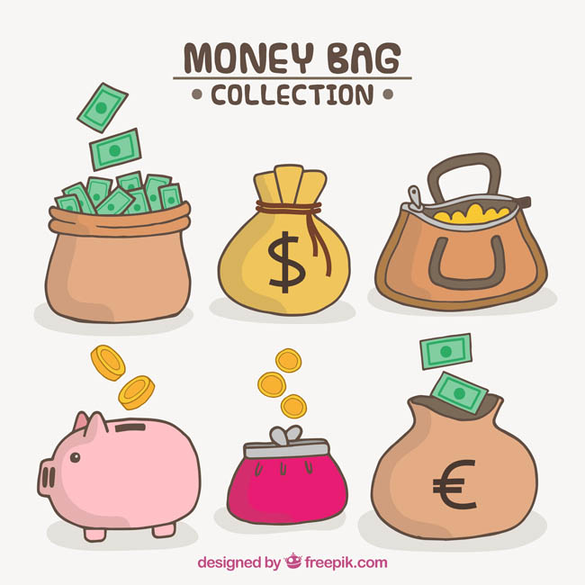 手绘金融主题储钱罐设计矢量素材下载