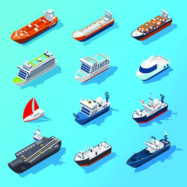 各种船只运输船游轮设计矢量素材下载