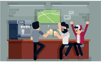 在喝酒狂欢看足球赛的年