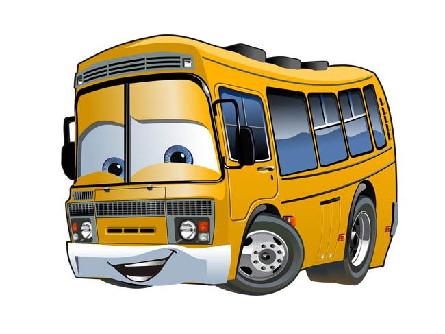 大巴车卡通动漫形象设计矢量素材