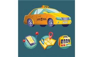 打车矢量显示出租车位置图标地图v矢量软件溧阳园林设计图片