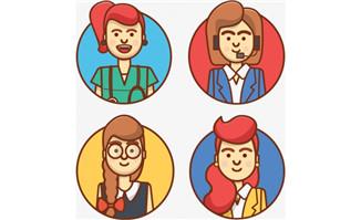 手绘女性客服动漫卡通形