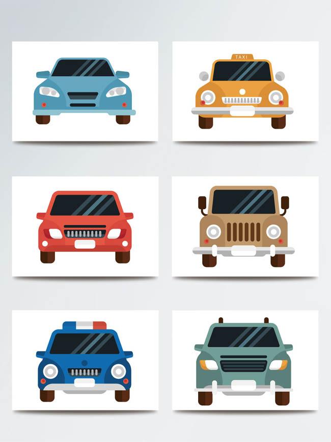 6款扁平化汽车图标设计扁平汽车正面矢量素材