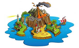 手绘岛屿游戏海岛场景设
