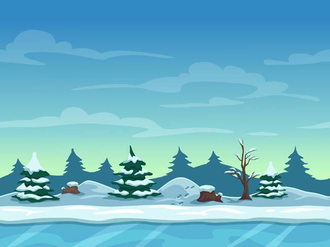 矢量手绘冬天雪地山脉森林场景设计矢量素材图片