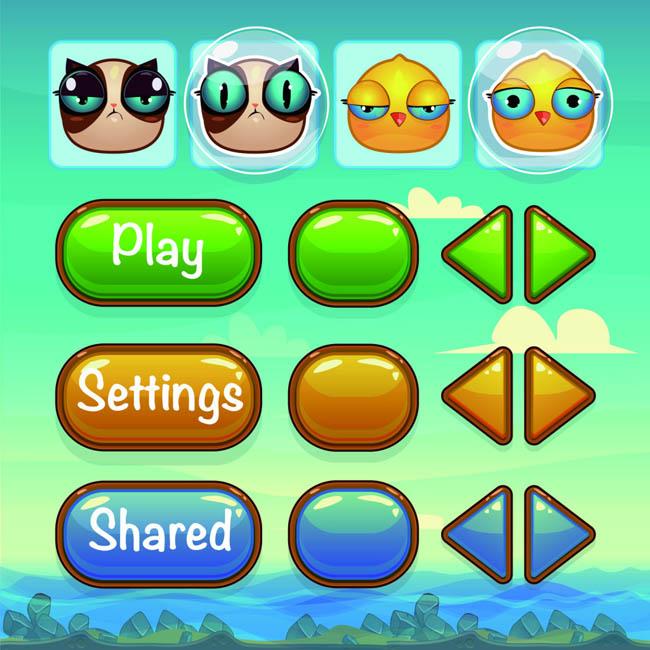 卡通手绘游戏ui图标设计按钮设计矢量素材