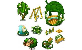 手绘树藤植物藤绿色设计