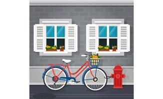 窗台外的自行车浪漫场景