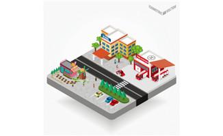 城市便利店超市立体模型