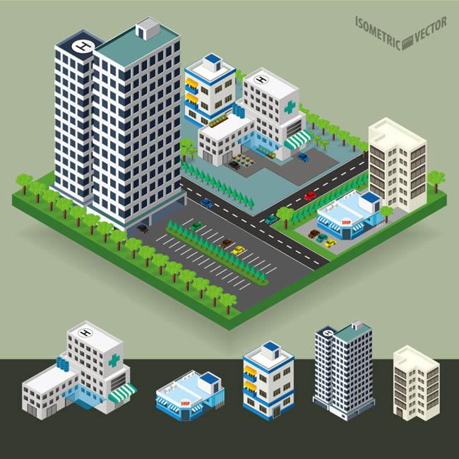 城市现代化小区成熟小区楼房设计立体模型素材