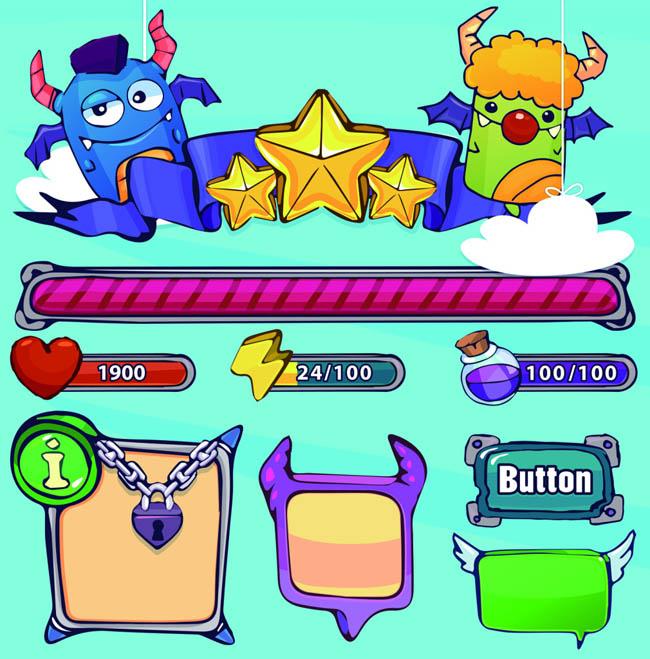 各种小恶魔卡通游戏图案设计游戏ui界面设计素材