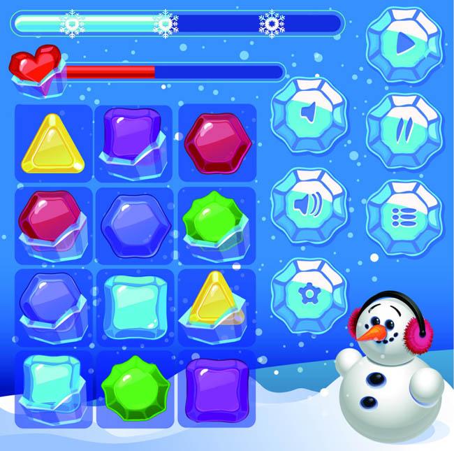 冰雪风格消消乐雪人图标按钮设计手绘界面素材