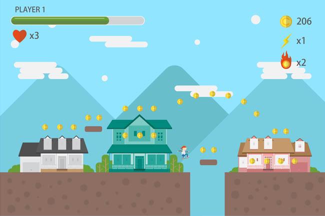 扁平游戏建筑场景闯关陷阱场景界面设计素材