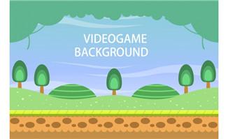 扁平游戏场景设计矢量树